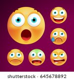 set of cute emoticons on black... | Shutterstock .eps vector #645678892