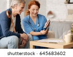 excited local therapist telling ...   Shutterstock . vector #645683602