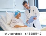 doctor telling to patient woman ... | Shutterstock . vector #645685942
