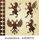 highly detailed heraldic animals | Shutterstock .eps vector #64568731