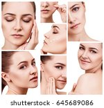 collage of young woman with... | Shutterstock . vector #645689086