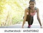 breathless sportswoman athletic ... | Shutterstock . vector #645693862