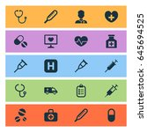 antibiotic icons set.... | Shutterstock .eps vector #645694525