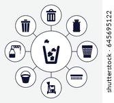 bucket icons set. set of 9... | Shutterstock .eps vector #645695122