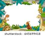 cartoon prehistoric nature... | Shutterstock . vector #645699418