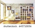 modern interior room with nice... | Shutterstock . vector #645710056