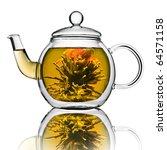 a glass tea pot with flower... | Shutterstock . vector #64571158
