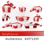 7  different red gift box set | Shutterstock .eps vector #64571245