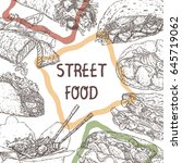street food template with hand... | Shutterstock .eps vector #645719062