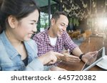 asian woman and europe man... | Shutterstock . vector #645720382