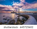 mandraki harbor entrance ... | Shutterstock . vector #645725602