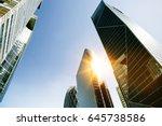 skyscraper glass facades on a... | Shutterstock . vector #645738586