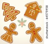 gingerbread man  house  and... | Shutterstock .eps vector #64575958