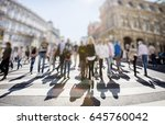 crowd of anonymous people... | Shutterstock . vector #645760042
