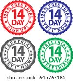 14 day free trial sign set ... | Shutterstock .eps vector #645767185