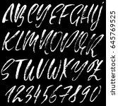 hand drawn dry brush font.... | Shutterstock .eps vector #645769525