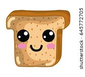 kawaii cute happy chopped bread | Shutterstock .eps vector #645772705