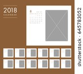 simple calendar layout for 2018 ... | Shutterstock .eps vector #645783052