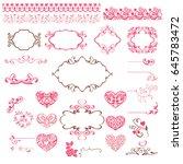 a set of pink vignettes  hearts ... | Shutterstock .eps vector #645783472