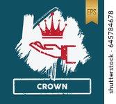 crown icon flat vector symbol  | Shutterstock .eps vector #645784678