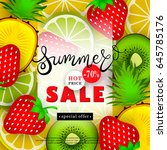 summer sales. advertising text... | Shutterstock .eps vector #645785176