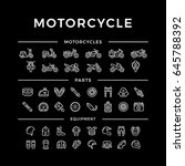 set of motorcycle related line... | Shutterstock .eps vector #645788392