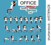 pretty girl is doing exercises...   Shutterstock .eps vector #645789628