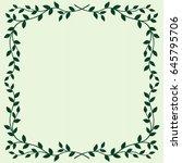 leaves frame on green background   Shutterstock .eps vector #645795706