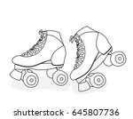 hand line drawing of roller... | Shutterstock .eps vector #645807736