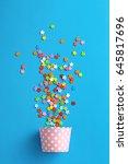 celebration concept. cupcake... | Shutterstock . vector #645817696