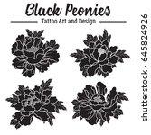vector black peonies sticker set | Shutterstock .eps vector #645824926