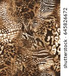 awesome animal mix print  ...   Shutterstock . vector #645826672
