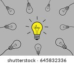 concept set light bulb design... | Shutterstock .eps vector #645832336