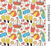 summer vacation seamless... | Shutterstock .eps vector #645834022