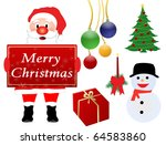 vector christmas design elements isolated on white background - stock vector