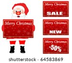 Santa Claus holding a Christmas label with space where you can choose your discount and place it on card - stock vector