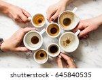 top view hands holding empty... | Shutterstock . vector #645840535