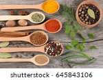 herbs and spices  onion  garlic ... | Shutterstock . vector #645843106