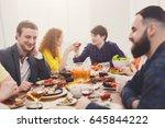 friends meeting. group of happy ... | Shutterstock . vector #645844222