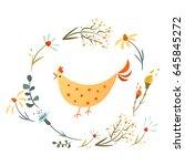 vector illustration with frame... | Shutterstock .eps vector #645845272