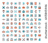 vector set of 150 flat line web ... | Shutterstock .eps vector #645845446