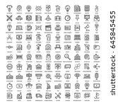 vector set of 150 flat line web ... | Shutterstock .eps vector #645845455