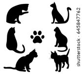 Stock vector cats silhouette cat paw sample template 645847762
