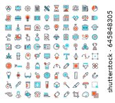 vector set of 150 flat line web ... | Shutterstock .eps vector #645848305