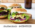 domestic burgers beef wooden... | Shutterstock . vector #645849028