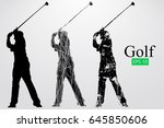 silhouette of a golf player.... | Shutterstock .eps vector #645850606