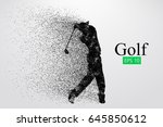 silhouette of a golf player.... | Shutterstock .eps vector #645850612