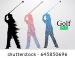 silhouette of a golf player.... | Shutterstock .eps vector #645850696