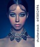 fashion studio portrait of... | Shutterstock . vector #645852496