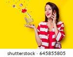 portrait of beautiful young...   Shutterstock . vector #645855805